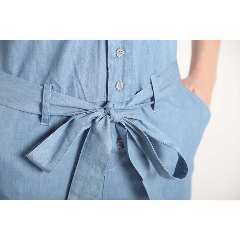 Осень 2017 г. Мода v-образным вырезом Джинсовые комбинезоны Для женщин сексуальный комбинезон с коротким рукавом Для женщин s джинсы длинные женские LF1016