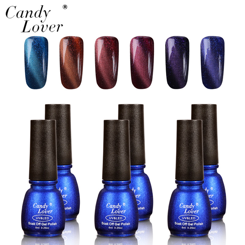 Candy Lover 3D Perfect Effect Cat Eyes Nail Gel Polish Each Well-selected 6pcs Soak off UV Nail Gel Polish Magnet For Choose 12boxes set 1g perfect cat eye effect magic mirror powder uv gel polish nail art magnet glitter pigment diy nail decoration