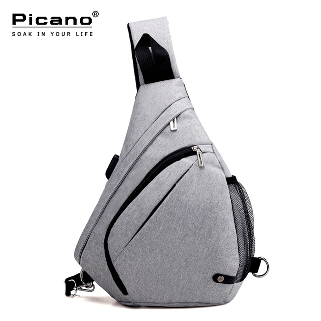 Picano Minimalist Men Chest Haversack Solid Color Crossbody Sling Bag Women  Portable Travel Shoulder Strap Bag USB Charge PCN054 7735735e12dc7