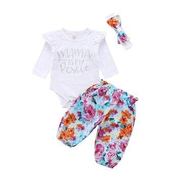 3 ピースママ幼児女の赤ちゃんの服服セット幼児女の子キッズ花ロンパースボディスーツちょう結びパンツレギンス服セット