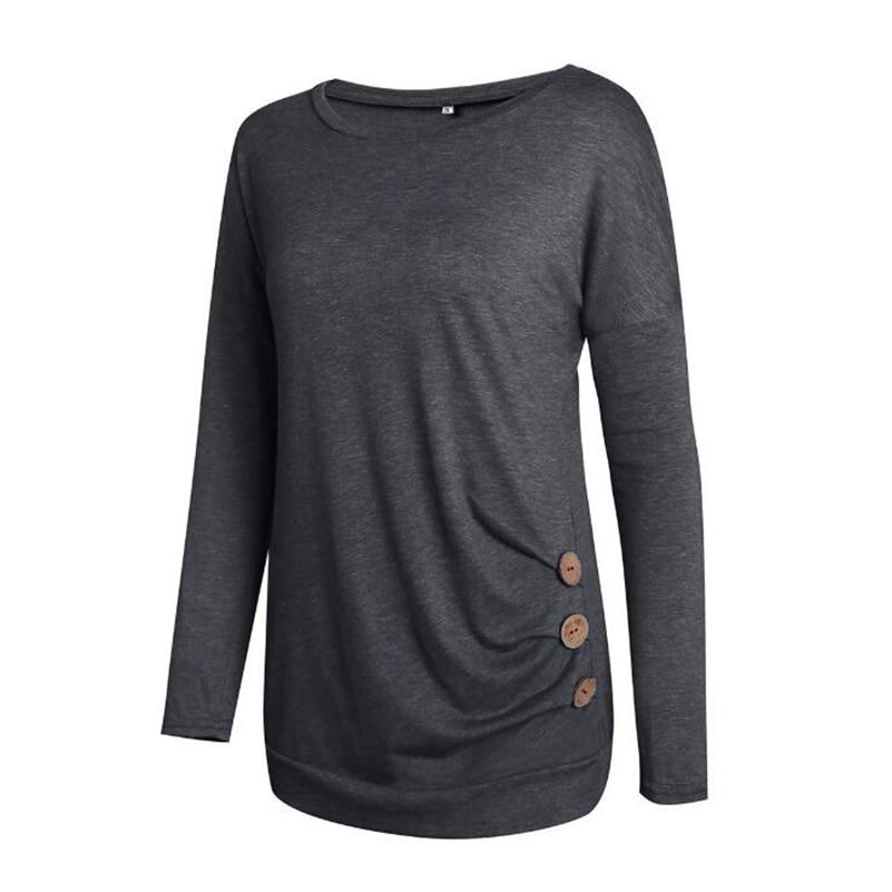 Couleur Col x03 Longues 2019 Manches T Pur D'été Casual Respirant Vêtements Solide shirt Pour Femme De Rond Coton Mode qq6CFwO