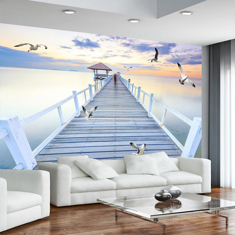 Custom Any Size Mural Wallpaper Modern Sunset Wood Bridge Sea View Wall Painting Living Room TV Sofa Bedroom Space Wall Paper 3D