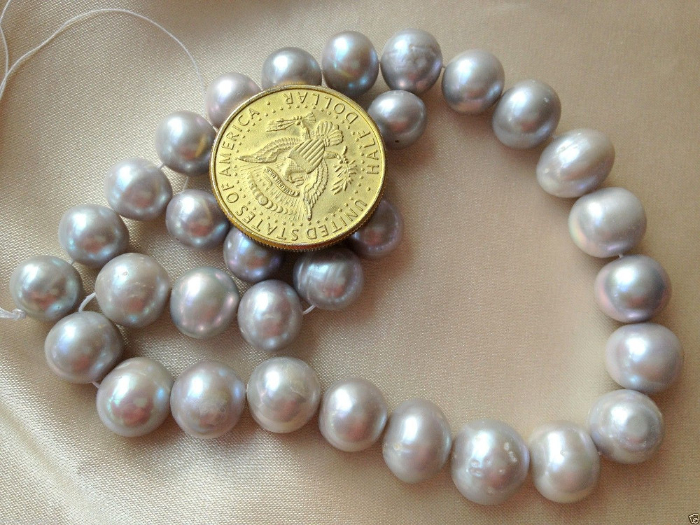 xiuli 000368 12 14mm Silver Gray(Grey) Off Round Cultured Freshwater Pearls Loose Beads