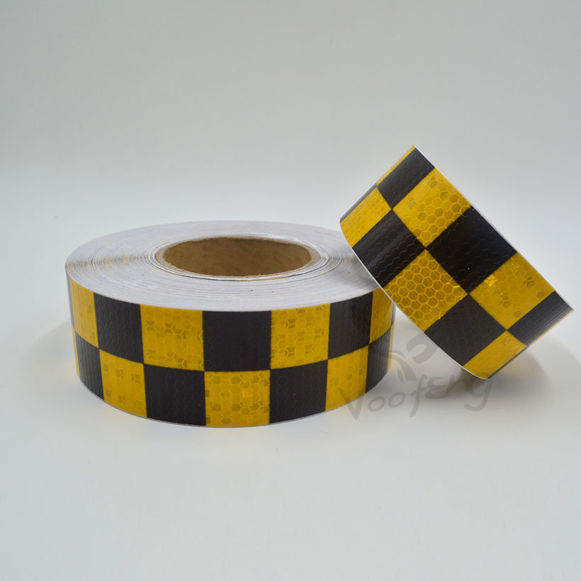 5cmx5m Shining Yellow Black Color Square Self-Adhesive Reflective Warning Tape For Body Signs
