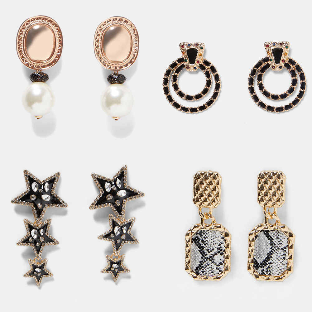 JUST FEEL ZA Geometric Crystal Dangle Earrings For Women Trendy Star Retro Long Drop Earring 2019 Female Party Statement Jewelry