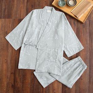 Image 5 - Gạc Cotton Nhật Bản Đồ Ngủ Cổ Chữ V Kimono Pijama Nam Nữ Pijamas Cặp Đôi Xuân Hè Phòng Chờ may Áo Quần Dài Bộ