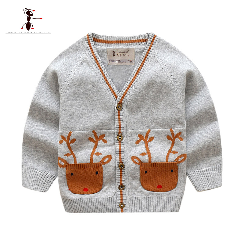 Kung Fu Ant 2018 Autumn Casual Cardigan Knitted Sweaters for Boys V-Neck Full Sleeve Woolen Children Clothes 24M Boys Sweaters mens v neck button up cardigan