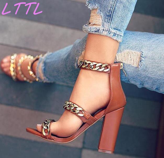 купить Fashion Brown Leather Women Gold Chain Strap Sandals Sexy Open Toe Ladies Summer Hot Chunky Heel Sandals Rome Style по цене 5041.55 рублей
