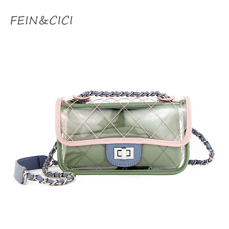clear bag pvc plastic quilted chains transparent candey summer beach bags women should 2018 luxury brand fashion green yellow