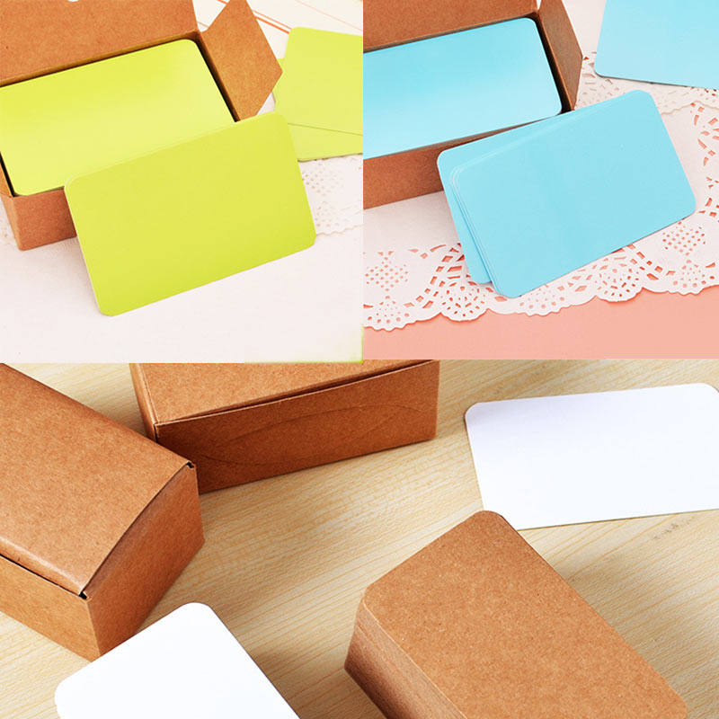 100pcs Vintage Blank Card DIY Greeting Cards Graffiti Word Cards Wedding Party Gift Thick Kraft