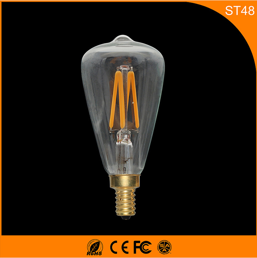 50PCS Retro Vintage Edison E14 LED Bulb ,ST48 3W Led Filament Glass Light Lamp, Warm White Energy Saving Lamps Light AC220V 5pcs e27 led bulb 2w 4w 6w vintage cold white warm white edison lamp g45 led filament decorative bulb ac 220v 240v