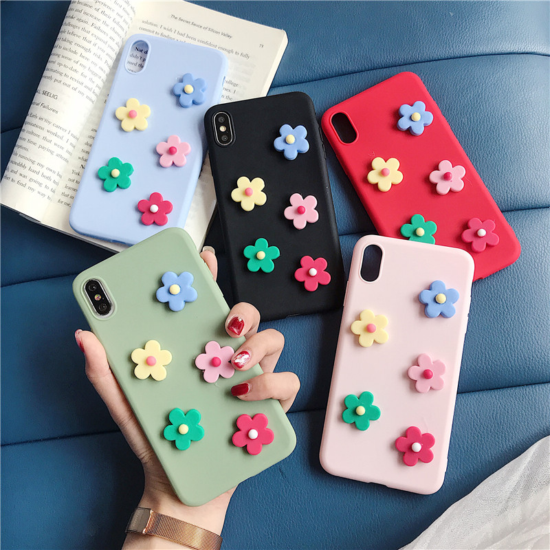 candy color 3d flower phone case for Xiaomi redmi K20 9T pro 7A matte silicone soft tpu back cover tpu coque fundas capa lovely in Fitted Cases from Cellphones Telecommunications