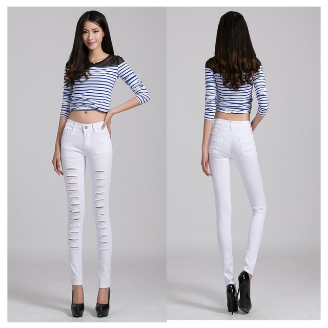 skinny Women Jeans 2016 Hot Fashion Ladies Cotton Denim Ripped ...