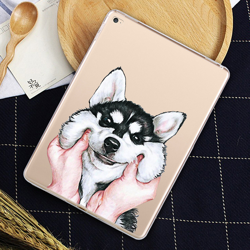 KTG1329_3_Cat Dog Pattern Clear Soft Silicone Case for iPad 2017 9.7 inch