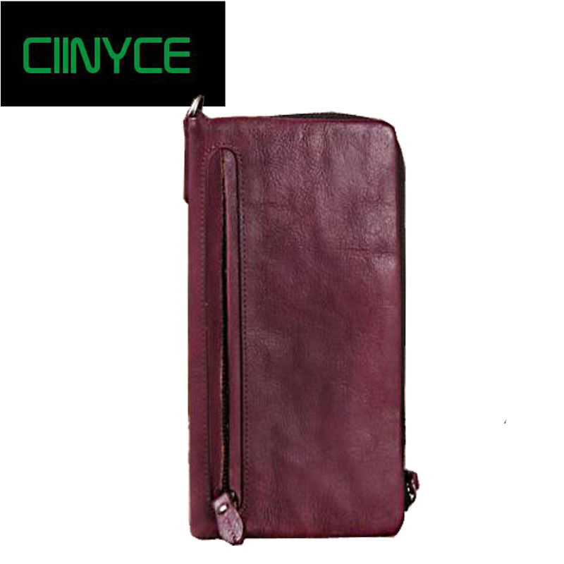 Vintage Genuine Leather Women Long Wallet Female zipper clamp for money Clutch Coin Purse Card Holder Cow Skin Small Vallet contact s genuine leather vintage men wallets coin purse card holder small wallet portomonee male clutch zipper clamp for money