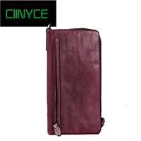 Vintage Genuine Leather Women Long Wallet Female zipper clamp for money Clutch Coin Purse Card Holder Cow Skin Small Vallet