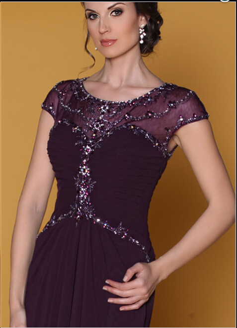 Vintage Mother Dress New Design Of Groom Dark Purple Lace Short Sleeve Long Bride 2017 In The Dresses From