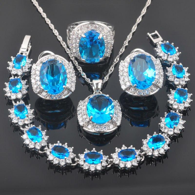 FAHOYO Sky Blue Zirconia Noble Design For Women 925 Sterling Silver Jewelry Sets Bracelet Necklace Pendant Earrings Ring QS0239