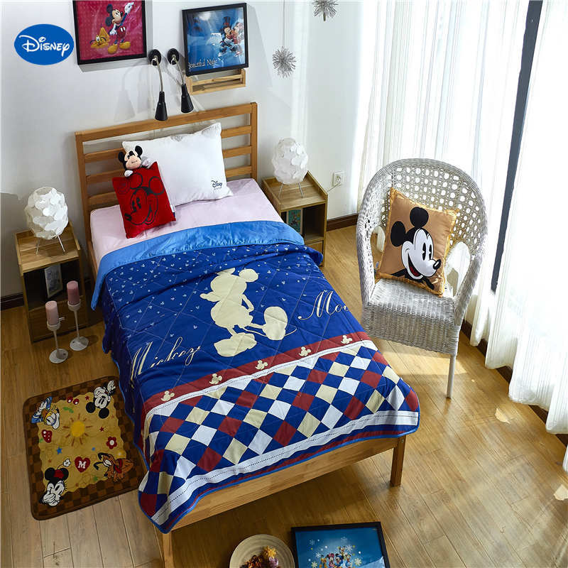 Blue Disney Mickey Mouse Prints Quilts Comforter Bedding Cotton Covers Summer Child Boys Baby Bedroom Decor 150*200cm 200*230cmBlue Disney Mickey Mouse Prints Quilts Comforter Bedding Cotton Covers Summer Child Boys Baby Bedroom Decor 150*200cm 200*230cm