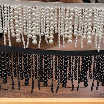Długie perłowe frędzlami zroszony koronki wykończenia ubranie sukienka tassel koronki dekoracji buty ozdoby biały czarny wiszące koralik kurtyna