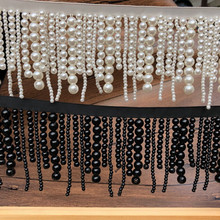 long pearl fringe beaded lace trim garment dress tassel lace decoration shoes ornaments white black hanging bead curtain