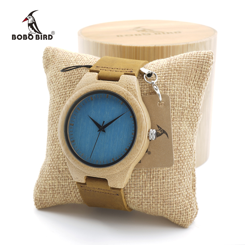 BOBO BIRD Minimalism Design Style Wooden Bamboo Quartz Watches Paint Color Dial with Leather Strap for Mens Women in Gift Box bobo bird top brand mens bamboo wooden elk deer wolf head watch quartz real leather strap men watches with gift box