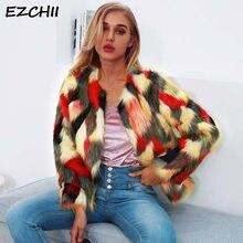 97c9bc2df8d81 Модная женская шуба из искусственного меха, без воротника, цветная Меховая  куртка, зимнее пальто, женская одежда 2018, уличная к.