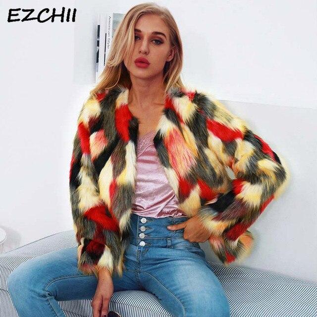 4c2b50eb088 US $18.75 21% OFF|Fashion Women Faux Fur Coat Collarless Colorful Hairy  Jacket Fur Coat Winter Clothes Woman 2018 Streetwear Overcoat Abrigo  Mujer-in ...