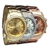 2017 Women Geneva Steel Watches Fashion Dress Bling Bling Crystal Lady Gift Metal Wrist Watch Alloy