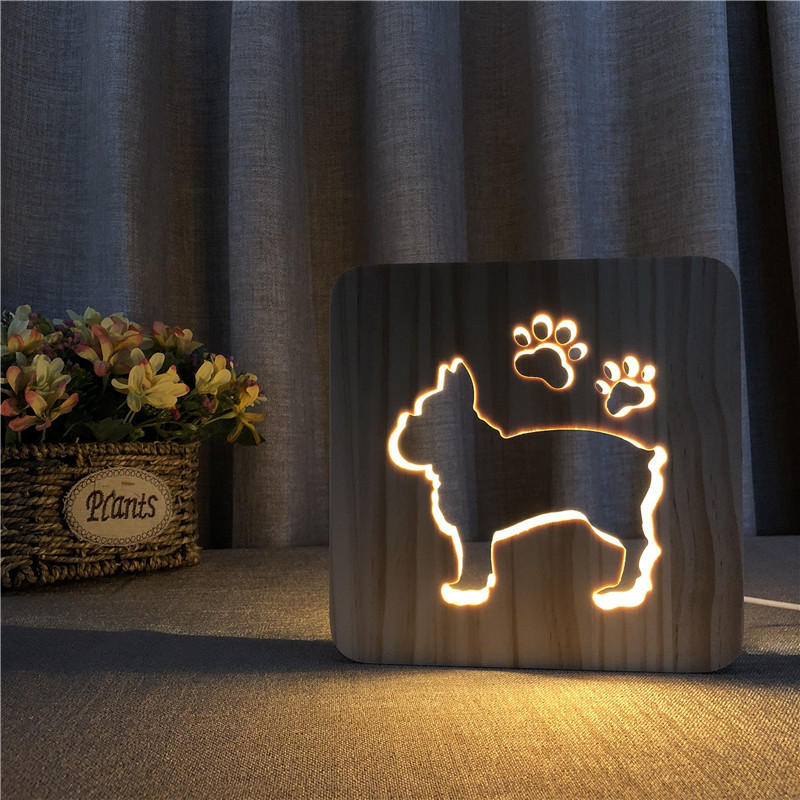 Wooden LED Lighting French Bulldog Lamp LED USB 3D Night Lamp For Baby Kids Room Decoration Wood Night Lights Birthday Xmas Gift cute little cat kitty animal 3d lampen 7 color usb night lamp led lights for kids birthday gift support dropshipping
