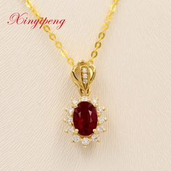 Xin yi peng 18 k yellow gold inlaid oval natural pigeons red ruby pendant with a diamond women pendant trendy for gifts