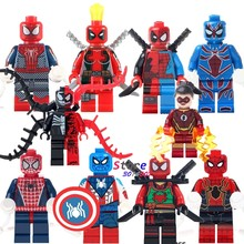 Single Deadpool Spider Man Venom vs Carnage Jesse Quick Ninja Figures building blocks models bricks toys for children kits(China)