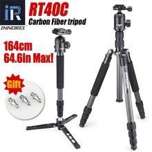 RT40C מקצועי סיבי פחמן חצובה עבור דיגיטלי dslr מצלמה אור משקל stand גבוהה באיכות מעיים עבור Gopro tripode 164cm מקסימום