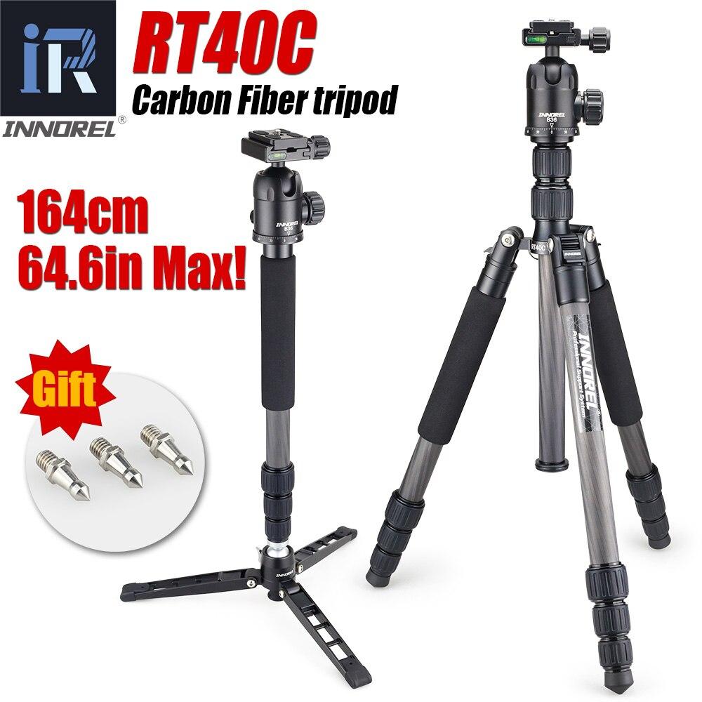 Rt40c profissional tripé de fibra carbono para câmera digital dslr leve suporte tripe alta qualidade para gopro tripode 164cm max
