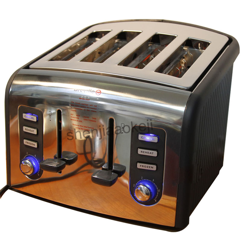 4slices Stainless steel Toaster automatic toaster electric oven toaster breakfast machine Baking Heating bread machine 2pcs lot new style pancake machine electric bread toaster fy 2213
