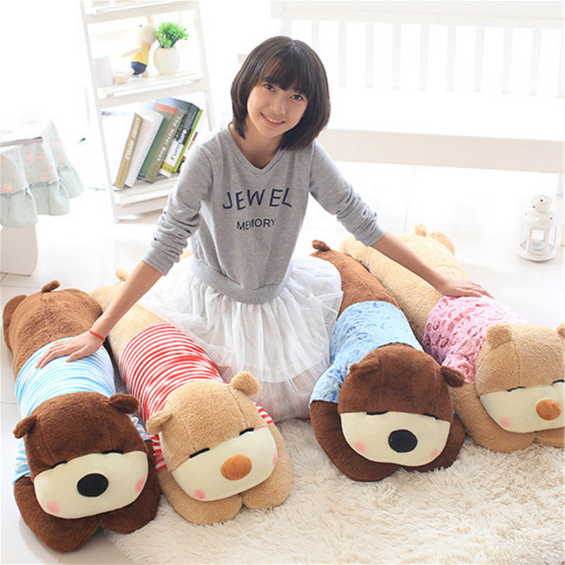 Fancytrader Lovely Soft Lying Bear Plush Pillow Toy Giant Cute Stuffed Bears Cushion for Girls and Friends 130cm 51inches fancytrader 43 110cm huge lovely stuffed cute plush soft pig toy nice gift for kids and friends free shipping ft50385