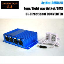 TIPTOP TP-D31 ArtNet-DMX4/8 Four/Eight way ArtNet/DMX Bi-Directional CONVERTER 8 Female 3PIN XLR IN/OUT Adjustable Stage Light кабель tiptop 502191013 137117 розовый