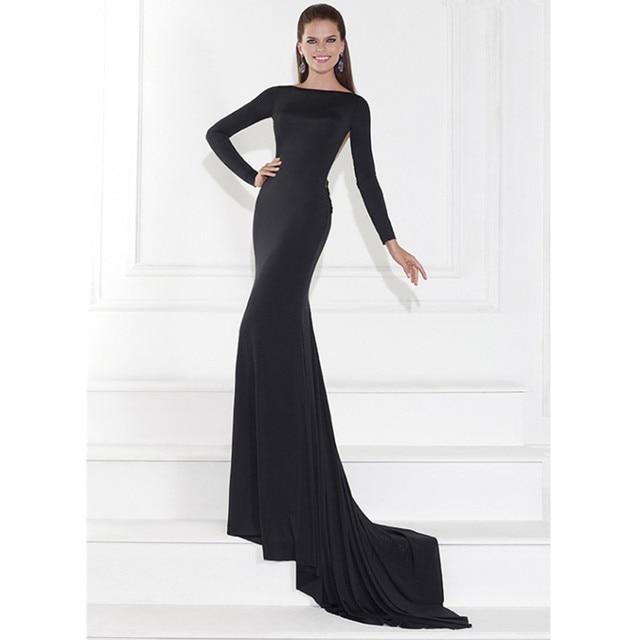 Vestido negro elegante manga larga
