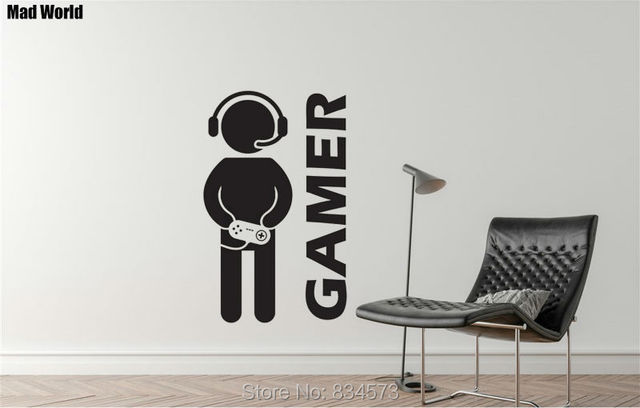 Mad World Video Game Gaming Gamer Silhouette Wall Art Sticker Wall