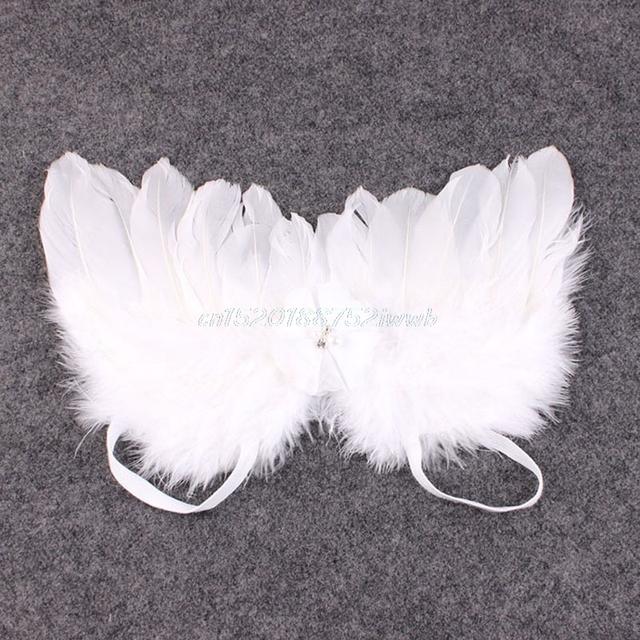 Newborn Baby Kids Girl Feather Lace Flowers Headband & Angel Wings Photo Prop