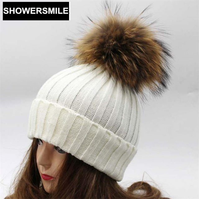 Real Fur Pom Pom Hat Winter Hats For Women Knitted Cap Raccoon Fur Ball Solid Skullies And Beanies Red Black White Female Cap