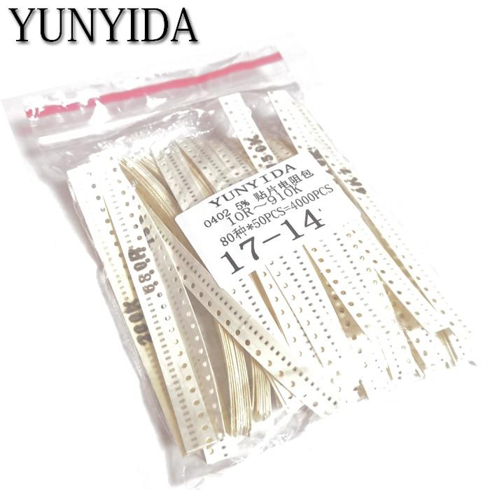 4000pcs   0402 SMD Resistor Kit Assorted Kit 10ohm-1M Ohm 5% 80valuesX 50pcs=4000pcs Sample Kit