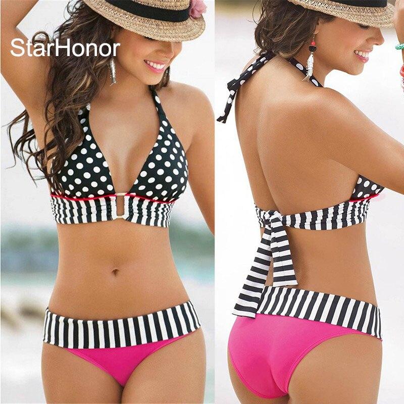 StarHonor Woman Brazilian Retro Polka Dot Halter Two-piece Suits Bra Bikinis Set Stripe Bathing Suit Swimwear Plus Size S-4XL