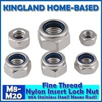 M8 M20 DIN985 Fine Thread Nylon Insert Lock Nuts 304 Stainless Steel Fasteners DIY Hardware For