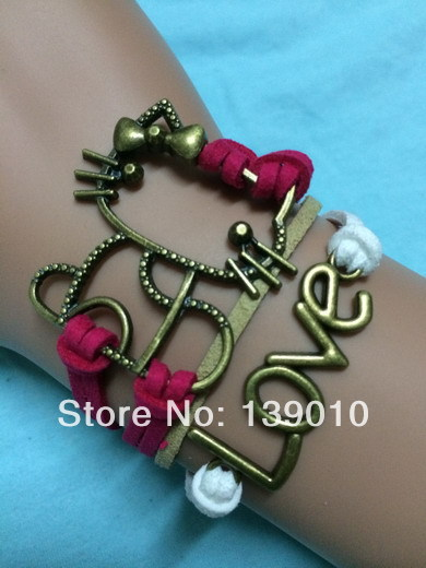 19 Breed Style Braided Red White Leather Cord LOVE Symbol Hello Kitty Pendant Bracelet Bangles Fashion Women Jewelry Bijouterie