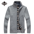 Más el Tamaño 2XL 3XL Mens Ocasionales de la chaqueta de Punto de Los Hombres de Cuello alto Suéteres de Invierno Cálido Terciopelo Grueso Suéteres Ropa de Abrigo