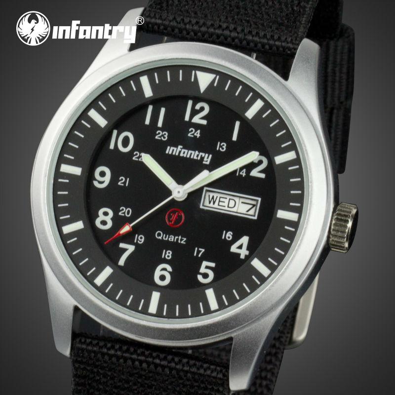 INFANTRY Men Quartz Watches Black Durable Nylon Strap Auto Date Military Sports Wristwatch Relogios Masculinos