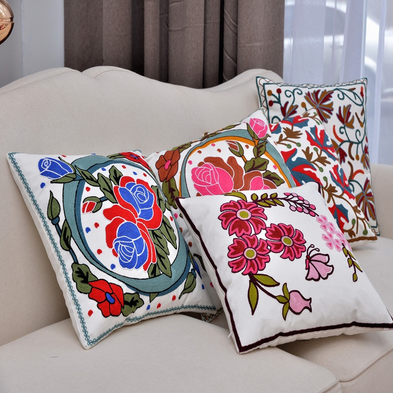OnnPnnQ Chinese Style Flower Embroider Cotton Comfort