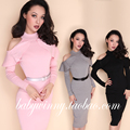 Free Shipping Spring New Elegant Ladies Off The Shoulder Stand Collar Knitted Slim Elasticity Pencil Tight Fitting Dress Women