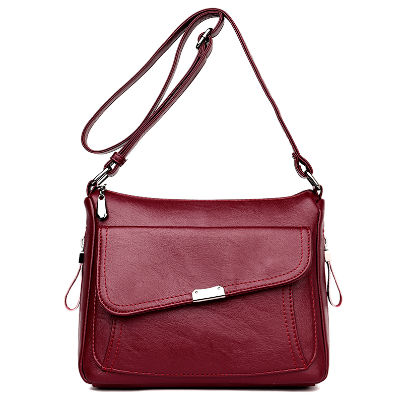 High Quality PU Leather Women Shoulder Bag Elegant Fashion Women Crossbody Bag Female Casual Large Capacity Solid Messenger Bag